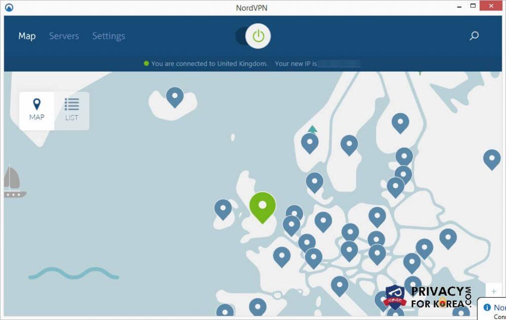 영국에 연결된 NordVPN